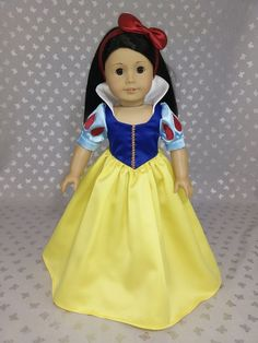 American Girl Dolls : Disney Princess Snow White Dress outfit for American Girl Doll