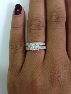 1 2 Carat TW Diamond Trio Matching Wedding Ring Set 10K White Gold
