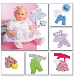 Baby Doll Clothes Pattern for 11 to 16 inch Babydolls by blue510