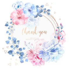 Beautiful thank you card with watercolor flowers Free Vector Watercolor Flower Vector, Watercolor Flower Wreath, Watercolor Art, Wedding Invitation Video, Fall Wedding Invitations, Rain Wallpapers, Wreath Drawing, Floral Logo, Free Graphics