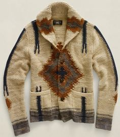 Ralph Lauren Navajo Sweater, white brown and navy, high-quality knitwear, fall fashion, Denim & Supply Look Fashion, Winter Fashion, Mens Fashion, Style Indien, A Well Traveled Woman, Oufits Casual, Shawl Collar Cardigan, Winter Stil, Fall Winter