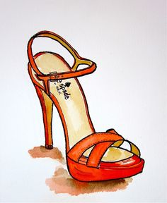 Original Fashion illustration:    Kate Spade spring shoe illustration. $24.00, via Etsy.