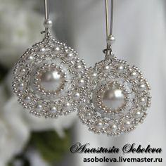 "Handmade earrings. Fair Masters - handmade earrings with Swarovski pearls ""Innocence."" Handmade."