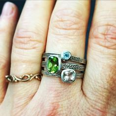 Loving this Springtime stack of silver wheat braid rings, just makes my day brighter. A unique way to customize birthstone rings or mothers rings. All rings are made from recycled sterling silver and bezel set gemstones, handcrafted in nyc. Support handmade. :-)