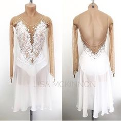 This dance dress is from our Exclusive Collection and is available for purchase on our website Only one has been made, size Small Link in Bio#lisamckinnon #costumedesigner #figureskating #skating #icedance #dance #lyrical #chiffon #lace #whitedress #angelic #readytowear #skatingcostume #dancecostume #swarovski #crystalsfromswarovski #fashion #forward