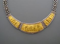 Babylon - necklace of pure gold repoussee on silver with hand made chain