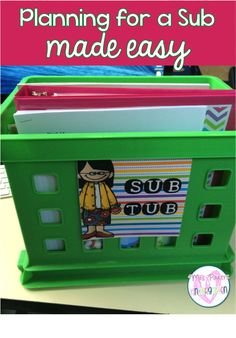 Kindergarten Classroom - Sub planning made easy - You need to try this! Teacher Organization, Teacher Tools, Teacher Resources, Teacher Stuff, Teacher Hacks, Teaching Ideas, Teacher Treats, Teacher Binder, Professor