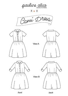 cami dress sewing pattern features shirt dress with buttons on the front, semi-fitted top and full gathered skirt. Short or 3/4 sleeves length variation.
