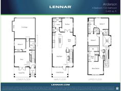 The ANDERSON home - 2405 square feet with 4 bedrooms and 3.5 baths.  Lots of bonus spaces and walk-in closets in three bedrooms!