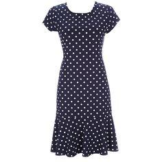 Wallis Navy Spot Jersey Frill Dress