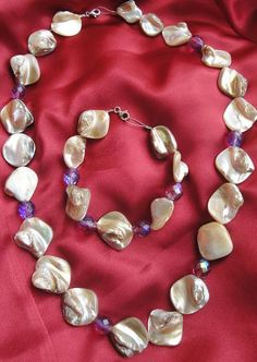 Hand Made Necklace and Bracelet with pearls and purple beads