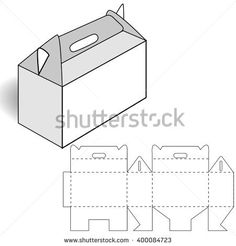 Triangular Carrying Box With Handle And Die Line Template Stock ...