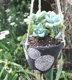 Mum Blossom Hanging Ceramic Planter | This handmade hanging planter is made from white earthenware c... | Pots & Planters