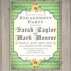 Green Engagement Party Invitations Whimsical Striped Design Vintage Flowers Rustic Style Country Chic Victorian No.538