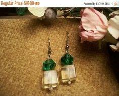 Beaded Earrings Green and Yellow by SpringJewelryThings on Etsy