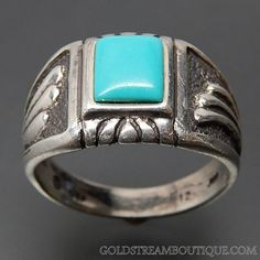 SOUTHWESTERN TURQUOISE WINGS DESIGN STERLING SILVER MEN'S RING - SIZE 12 – Gold Stream Boutique