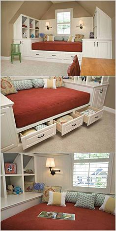 home-remodel-ideas-12-2 Storage Ideas, Storage Solutions, Storage Shed Plans, Bedroom Storage, Bedroom Decor, Under Bed Storage, Clever, Toddler Bed, Master Bedroom