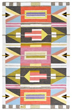 No word on where this folky carpet is from. just love the colouration and the look of it. I'd say mid-century modern and Northern. Would love to know more.