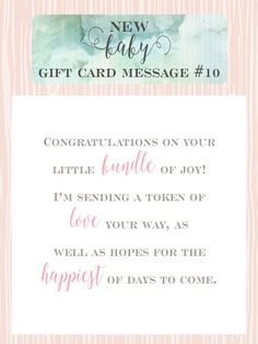 Congratulations On Your Bundle Of Joy Gift Message.