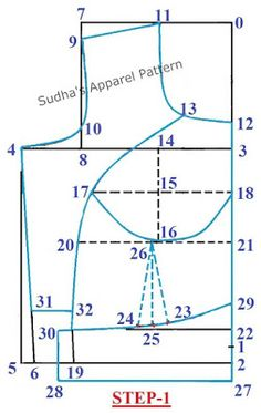 In this article, I have explained detailed pattern making of a double katori or two piece katori blouse with sleeve. The Katori blouse is designed based on the natural bust shape of women. Dress Sewing Patterns, Blouse Patterns, Clothing Patterns, Pattern Drafting Tutorials, Sewing Tutorials, Pattern Cutting, Pattern Making, Motif Corset, Blouse Tutorial