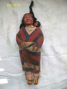 Antique 1920's Skookum Native American Indian Doll With Papoose