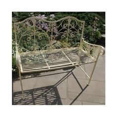 Metal Garden Bench Outdoor Seat Rustic Furniture Vintage Lattice Garden Backrest