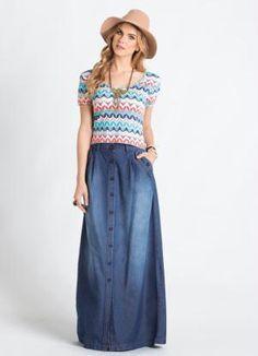 1eab99d57 Saia Longa Jeans Azul com Botões Frontais - Posthaus Roupas Com Saia Longa,  Looks Com