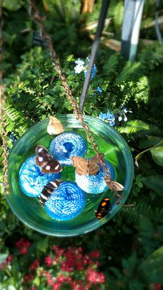 butterfly feeder - blue scrubbies to serve the syrup