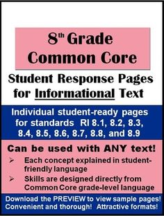 8th Grade Common Core Student Response Pages for Informational Text - Attractively-designed student-ready handouts that will have your students practicing the Common Core Reading Standards with any informational text you choose to teach. Very handy resource--many teachers have used for observations!