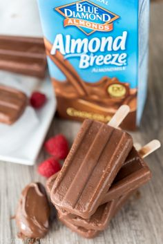 frozen fudge pops made with Almond Milk and chocolate spread (hazelnut butter, PB, or try better n butter!)