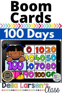 Boom Cards 100 Days Of School. Go digital with new ideas for your math centers! Use your iPads, and Chrome Books to teach counting by 10s to get to 100. These digital task cards reveal the 100 days of school image as the students move through the deck. This self-checking resource makes learning to count to 100 fun for your kids and easy for you. Homeschool families will LOVE Boom Cards!