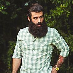 Gregory Vizina - full thick bushy puffy black beard mustache beards bearded man men mens' style fashion clothing tattoos tattooed bearding #beardsforever