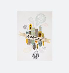 My City 2 - En smuk plakat der afbilleder storbyen på romantisk vis, med lysende farver og tætstående huse. Fås i 30x40 og A5.     Michelle Carlslund er en dygtig illustrator, der hovedsagligt tegner hvad hun føler, på denne mååde skaber hun sit helt eget finurlige univers. Hun trykker alle sine kort og plakater på lækker bæredygtigt stenpapir, som er fremstillet helt uden brug af træer, vand og blegemiddel.