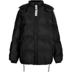 Oversized Bonded Puffer Jacket by Ivy Park (1 280 SEK) ❤ liked on Polyvore featuring outerwear, jackets, jacket's, tops, black, oversized puffer jacket, drawstring jacket, hooded drawstring jacket, puffer jacket and puffy jacket