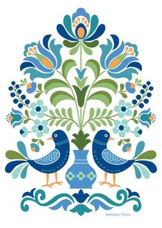 Hungarian Folk Art Blue Birds Hungarian Folk Art Print This is an image created in Adobe Illustrator and inspired by the beautiful folk designs of Hungary. The image is printed on museum quality fine art paper. Choice of three print sizes: 5 Hungarian Embroidery, Folk Embroidery, Embroidery Patterns, Hungarian Tattoo, Folk Art Flowers, Flower Art, Red Flowers, Tole Painting, Fabric Painting
