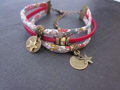 Bracelet en cordon liberty et cuir *6* .