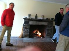 fireplace with old guys