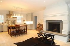 Giant beautiful kitchen fireplace wow! Would be awesome to cook over a fire in the kitchen