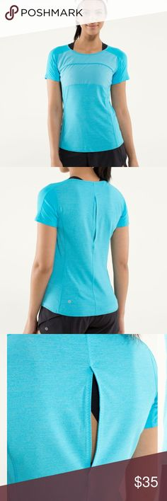 Lululemon RUN: Fast track short sleeve e designed this lightweight run top to help us keep our cool, whether we're pacing slow and steady on a long run or making a mad dash for the finish line. Made with an open vent at the back and body-mapped panels of lightweight, breathable fabrics, this top was built to keep the breezes flowingwhenwe'reworking up a sweat. lululemon athletica Tops Tees - Short Sleeve