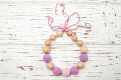 Items similar to Nursing necklace Teething necklace Baby nursing toy Necklace for mom Juniper Wood Organic cotton Purple Pink on Etsy Nursing Necklace, Teething Necklace, Beaded Necklace, Beaded Bracelets, Toy, Trending Outfits, Unique Jewelry, Classic, Handmade Gifts