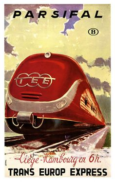 The legendary Trans Europ Express was not only technically innovative but also in terms of design. The strikingly designed trains were very suitable to depict on posters promoting the TEE service. Train Posters, Railway Posters, Rail Transport, Public Transport, Vintage Advertisements, Vintage Ads, Train Drawing, Europe Train, Trains
