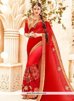 Exciting Jacquard Peach And Red Patch Border Work Classic Designer Saree