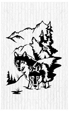 Wolves Wolf Moon Pack Man Cave Animal Rustic Cabin Lodge Mountains Hunting Vinyl Wall Art Sticker Decal Graphic Home Decor Man Cave Wall Decals, Animal Wall Decals, Vinyl Wall Stickers, Vinyl Wall Art, Cave Animals, Wolf Silhouette, Wood Burning Patterns, Wolf Moon, Scroll Saw Patterns