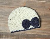 Custom Listing for a Cream Crochet Hat with Teal Bow and Blue bottom