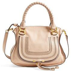 Women's Chloe 'Medium Marcie' Leather Satchel ($1,990) via Polyvore featuring bags, handbags, purses, blush nude, leather satchel, handbags purses, beige leather purse, embossed leather purse and man bag