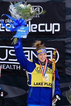 Hannah Kearney celebrates victory in the Ladies' Moguls Final at the USANA Health Sciences Lake Placid FIS Freestyle World Cup on January 19, 2012 in Lake Placid, New York.