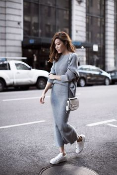 {Grey knit matching set and white sneakers.}