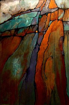 ICE AGE, 9115, geologic abstract by Carol Nelson Carol Nelson Fine Art, original painting by artist Carol Nelson   DailyPainters.com