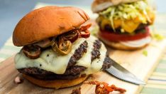 You'll find the ultimate Jeff Mauro Big Triple Cheese Burgers on Buttery Brioche…