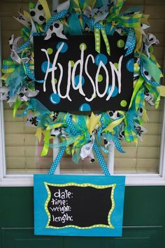 door wreath for little boy | Baby Hospital Door Wreath by AllThingsNicole on Etsy, $89.00